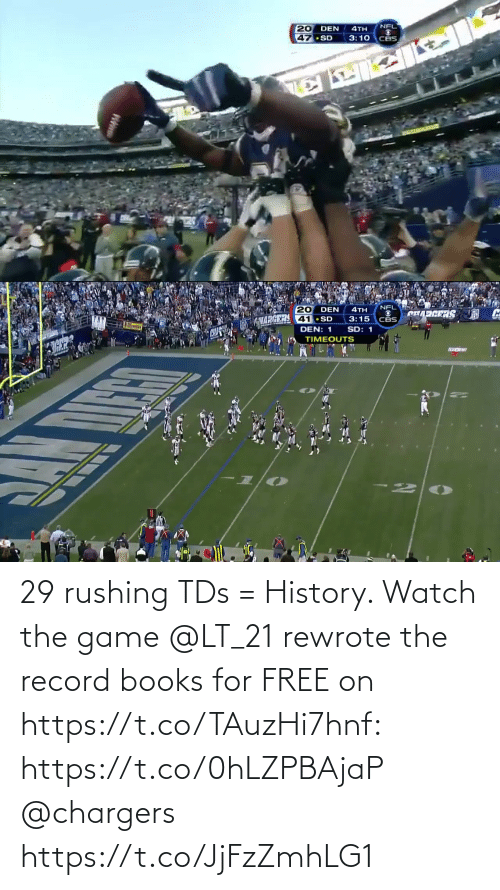 The Game: 29 rushing TDs = History.   Watch the game @LT_21 rewrote the record books for FREE on https://t.co/TAuzHi7hnf: https://t.co/0hLZPBAjaP @chargers https://t.co/JjFzZmhLG1