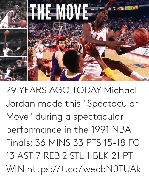 """Jordan: 29 YEARS AGO TODAY Michael Jordan made this """"Spectacular Move"""" during a spectacular performance in the 1991 NBA Finals:   36 MINS 33 PTS 15-18 FG 13 AST 7 REB 2 STL 1 BLK 21 PT WIN https://t.co/wecbN0TUAk"""