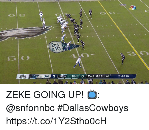 Memes, 🤖, and Phi: 2l  2nd  &10  5 0  40  35 DAL  3  44 PHI 0 2nd 6:18 08  2nd & 10  54 ZEKE GOING UP!  📺: @snfonnbc #DallasCowboys https://t.co/1Y2Stho0cH