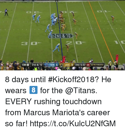 Memes, 🤖, and Titans: 2ND & 10  30  ATI  TENJAX 93RD 5:32 09WaRE  S8 8 days until #Kickoff2018? He wears 8️⃣ for the @Titans.  EVERY rushing touchdown from Marcus Mariota's career so far! https://t.co/KulcU2NfGM