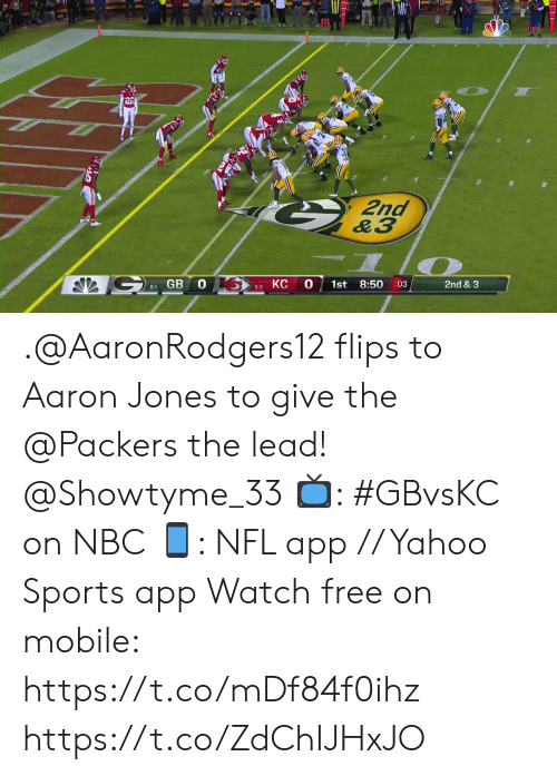 Flips: 2nd  &3  GB 0  КС  0  8:50  1st  2nd & 3  :03  6-1  5-2 .@AaronRodgers12 flips to Aaron Jones to give the @Packers the lead! @Showtyme_33   📺: #GBvsKC on NBC 📱: NFL app // Yahoo Sports app Watch free on mobile: https://t.co/mDf84f0ihz https://t.co/ZdChIJHxJO