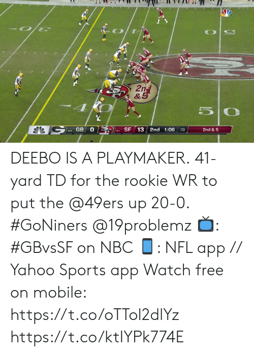 Rookie: 2nd  & 5  SF  13 2nd 1:06  2nd & 5  :13  8-2 GB  9-1 DEEBO IS A PLAYMAKER.  41-yard TD for the rookie WR to put the @49ers up 20-0. #GoNiners @19problemz   📺: #GBvsSF on NBC 📱: NFL app // Yahoo Sports app Watch free on mobile: https://t.co/oTTol2dlYz https://t.co/ktIYPk774E
