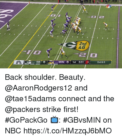Memes, Packers, and Back: 2nd  & 6  ia  451 GB O5-41 MIN O1st 6:01 :04 2nd & 6  5-4-1 Back shoulder. Beauty. @AaronRodgers12 and @tae15adams connect and the @packers strike first! #GoPackGo  📺: #GBvsMIN on NBC https://t.co/HMzzqJ6bMO