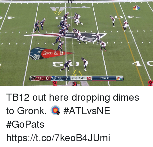 dimes: 2nd 7:41 :  04 TB12 out here dropping dimes to Gronk. 🎯  #ATLvsNE #GoPats https://t.co/7keoB4JUmi