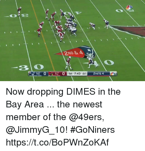 dimes: 2ND &A  1st7:43 :07  2nd & 4 Now dropping DIMES in the Bay Area ... the newest member of the @49ers, @JimmyG_10! #GoNiners https://t.co/BoPWnZoKAf