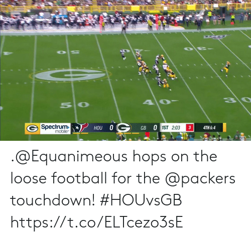 Football, Memes, and Mobile: 3\0  50  G Spectrum  mobile  HOU 0G  GB 0 1ST 2:03  3  4TH&4 .@Equanimeous hops on the loose football for the @packers touchdown! #HOUvsGB https://t.co/ELTcezo3sE