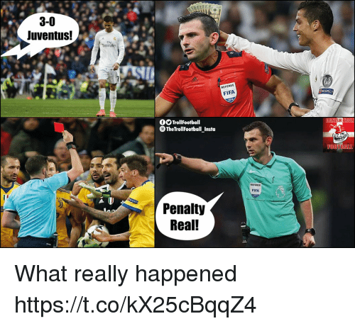 Fifa, Memes, and Respect: 3-0  Juventus!  Fly  Emirates  REFEREE  RESPECT  FIFA  TrollFootball  TheTrollFootball Insta  FOOTBAL  REFEREE  FIFA  D)  Penalty  Real! What really happened https://t.co/kX25cBqqZ4