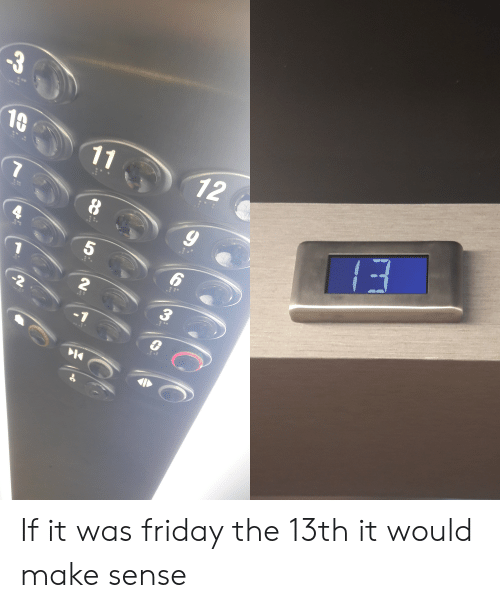 Friday, Friday the 13th, and Make: -3  10  11  12  8  5  2  -2  7 If it was friday the 13th it would make sense
