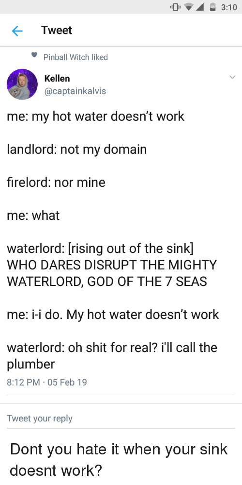 plumber: 3:10  Tweet  Pinball Witch liked  Kellen  @captainkalvis  me: my hot water doesn't work  landlord: not my domain  firelord: nor mine  me: what  waterlord: [rising out of the sink]  WHO DARES DISRUPT THE MIGHTY  WATERLORD, GOD OF THE 7 SEAS  me: -i do. My hot water doesn't work  waterlord: oh shit for real? i'll call the  plumber  8:12 PM 05 Feb 19  Tweet your reply Dont you hate it when your sink doesnt work?
