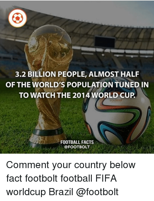 Facts, Fifa, and Football: 3.2 BILLION PEOPLE, ALMOST HALF  OF THE WORLD'S POPULATION TUNED IN  TO WATCH THE 2014 WORLD CUP  FOOTBALL FACTS  @FOOTBOLT Comment your country below fact footbolt football FIFA worldcup Brazil @footbolt