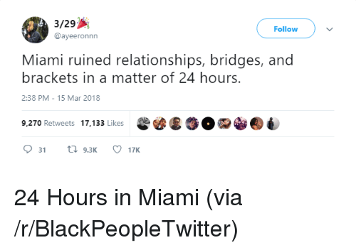 Blackpeopletwitter, Relationships, and A Matter: 3/29  @ayeeronnn  Follow  Miami ruined relationships, bridges, and  brackets in a matter of 24 hours.  2:38 PM-15 Mar 2018  9,270 Retweets 17,133 Likes <p>24 Hours in Miami (via /r/BlackPeopleTwitter)</p>