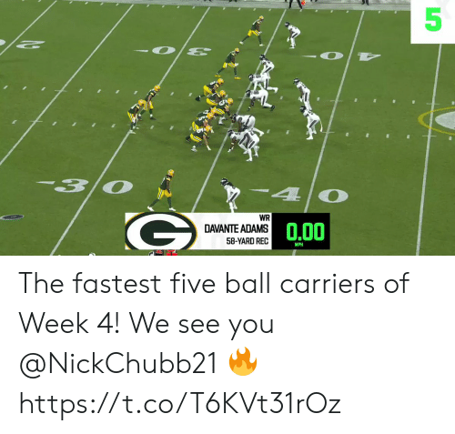 Adams: 3  4  WR  0.00  DAVANTE ADAMS  58-YARD REC  MPH  5 The fastest five ball carriers of Week 4!  We see you @NickChubb21 🔥 https://t.co/T6KVt31rOz