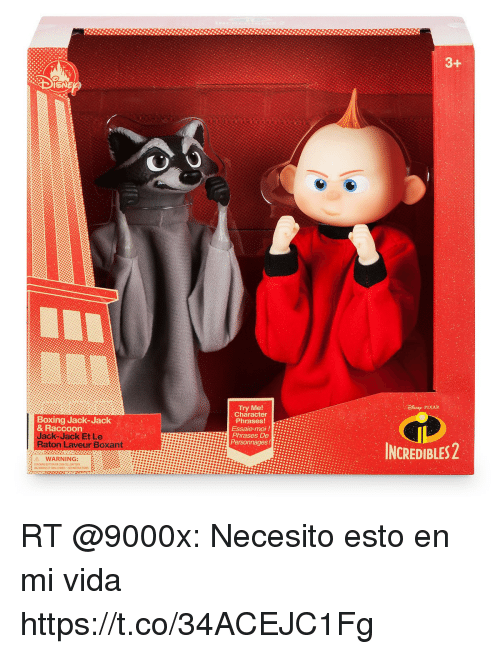 Boxing, Try Me, and Incredibles 2: 3  Boxing Jack-Jack  & Raccoon  Jack Jack Et Le  Raton Laveur Boxant  Try Me!  Character  Phrases!  Essaie-moi!  Phrases De i:i.?:  INCREDIBLES 2  A WARNING:  CONTAINS BUTTON OR COMN CELL BATTERY RT @9000x: Necesito esto en mi vida https://t.co/34ACEJC1Fg
