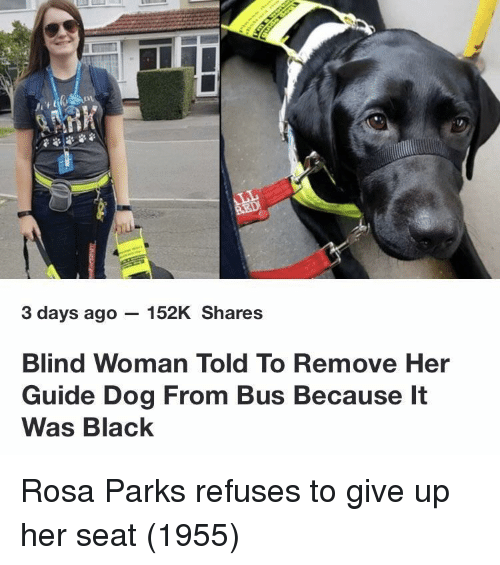 Rosa Parks: 3 days ago - 152K Shares  Blind Woman Told To Remove Her  Guide Dog From Bus Because It  Was Black Rosa Parks refuses to give up her seat (1955)