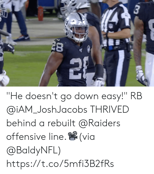"""Offensive Line: 3 """"He doesn't go down easy!""""   RB @iAM_JoshJacobs THRIVED behind a rebuilt @Raiders offensive line.📽️(via @BaldyNFL) https://t.co/5mfi3B2fRs"""