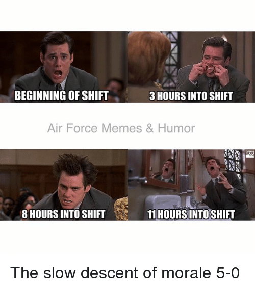 Memes, Air Force, and 🤖: 3 HOURS INTO SHIFT  BEGINNING OF SHIFT  Air Force Memes & Humor  8 HOURS INTO SHIFT  11 HOURS INTOSHIFT The slow descent of morale  5-0