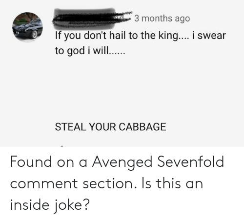 God, Avenged Sevenfold, and King: 3 months ago  If you don't hail to the king... i swear  to god i will.  STEAL YOUR CABBAGE Found on a Avenged Sevenfold comment section. Is this an inside joke?