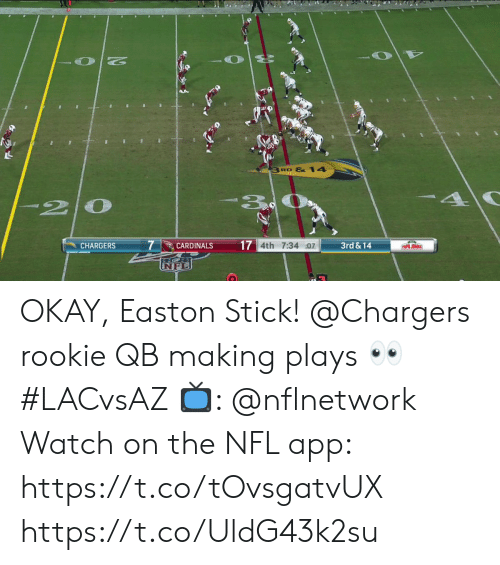 johns: 3 RD &14  20  7  17 4th 7:34 :07  3rd&14  CHARGERS  CARDINALS  PAPA JOHNS OKAY, Easton Stick!  @Chargers rookie QB making plays 👀 #LACvsAZ  📺: @nflnetwork Watch on the NFL app: https://t.co/tOvsgatvUX https://t.co/UldG43k2su