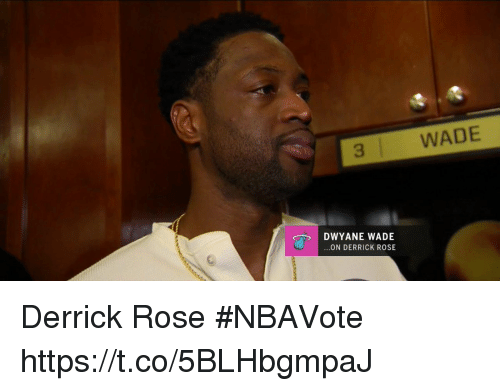 Derrick Rose, Dwyane Wade, and Memes: 3  WADE  DWYANE WADE  ON DERRICK ROSE Derrick Rose #NBAVote   https://t.co/5BLHbgmpaJ