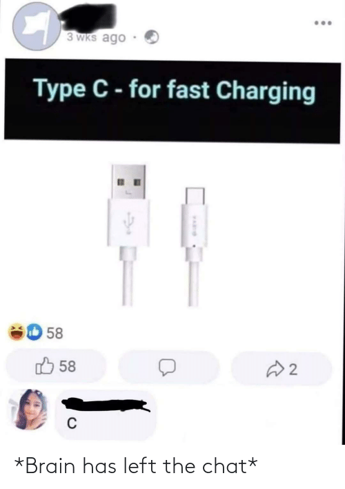 Facepalm, Brain, and Chat: 3 WKs ago  Type C - for fast Charging  58  58 לז  2. *Brain has left the chat*
