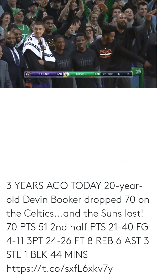 pts: 3 YEARS AGO TODAY 20-year-old Devin Booker dropped 70 on the Celtics...and the Suns lost!   70 PTS 51 2nd half PTS 21-40 FG 4-11 3PT 24-26 FT 8 REB 6 AST 3 STL 1 BLK 44 MINS   https://t.co/sxfL6xkv7y