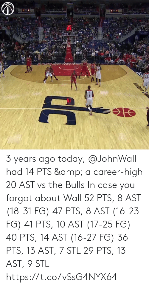wall: 3 years ago today, @JohnWall had 14 PTS & a career-high 20 AST vs the Bulls  In case you forgot about Wall 52 PTS, 8 AST (18-31 FG) 47 PTS, 8 AST (16-23 FG) 41 PTS, 10 AST (17-25 FG) 40 PTS, 14 AST (16-27 FG)  36 PTS, 13 AST, 7 STL 29 PTS, 13 AST, 9 STL   https://t.co/vSsG4NYX64