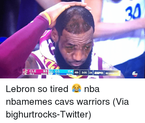 Basketball, Cavs, and Nba: 30  CLE 93GS 114  | 4th | 3:05 | 24 |  | GS  TO: Lebron so tired 😂 nba nbamemes cavs warriors (Via ‪bighurtrocks‬-Twitter)