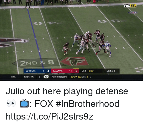 Aaron Rodgers, Dallas Cowboys, and Memes: 30  FOX NFL  94%  2ND & 8  COWBOYS 45 3 FALCONS 45 3 2nd 3:39  2nd & 8  NFL  PASSING  1  G  Aaron Rodgers  21/30, 332 yds, 2 TD Julio out here playing defense 👀  📺: FOX #InBrotherhood https://t.co/PiJ2strs9z