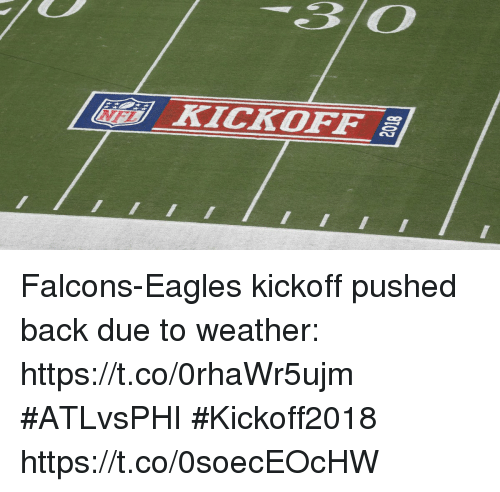Philadelphia Eagles, Memes, and Falcons: 30  [ lidi) KİCKOFF al  |E- Falcons-Eagles kickoff pushed back due to weather: https://t.co/0rhaWr5ujm #ATLvsPHI #Kickoff2018 https://t.co/0soecEOcHW