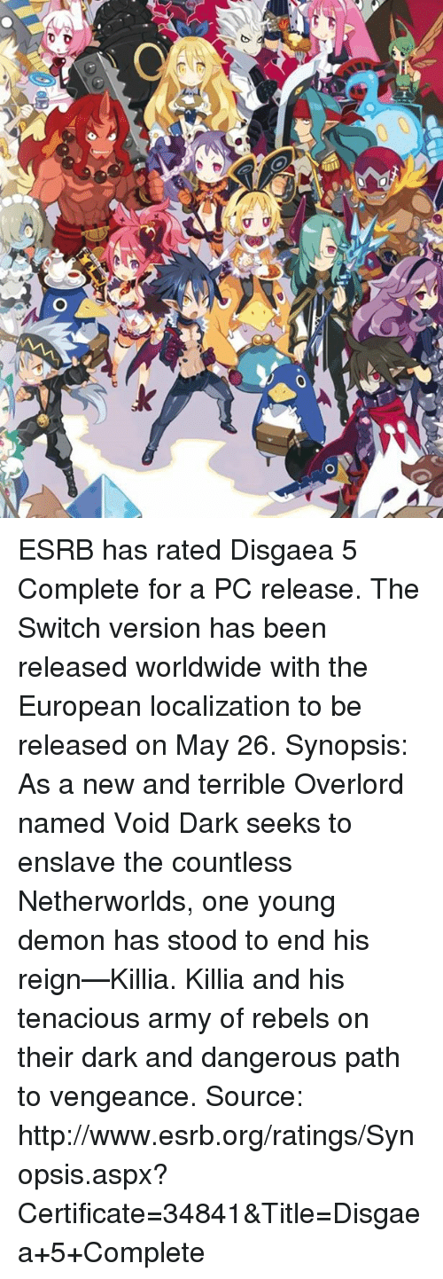 30 O-D VV AJ O O ESRB Has Rated Disgaea 5 Complete for a PC