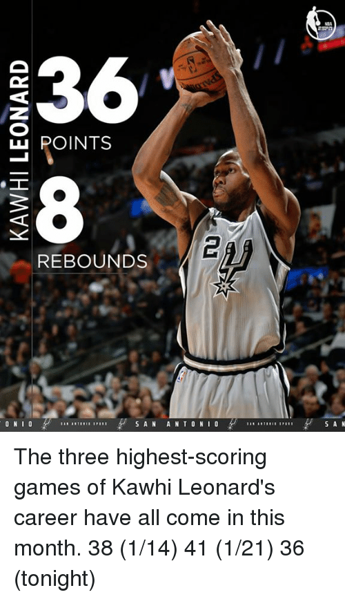 rebounder: 36  LLI POINTS  REBOUNDS  ON  I  S A N A N T O N  I  S A N The three highest-scoring games of Kawhi Leonard's career have all come in this month.  38 (1/14) 41 (1/21) 36 (tonight)