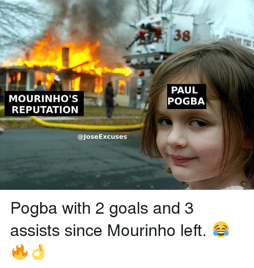 Goals, Memes, and 🤖: 38  MOURINHO'S  REPUTATION  PAUL  POGBA  @JoseExcuses Pogba with 2 goals and 3 assists since Mourinho left. 😂🔥👌