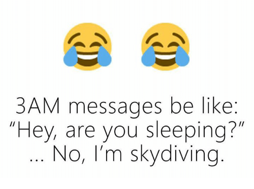 """skydive: 3AM messages be like  """"Hey, are you sleeping?""""  No, I'm skydiving"""