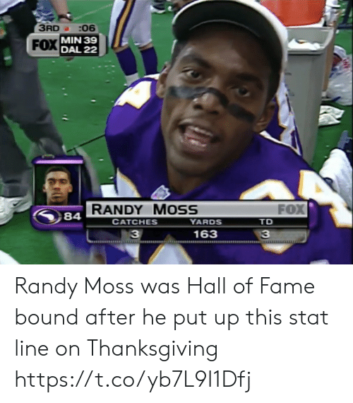 Football, Nfl, and Sports: 3RD :06  FOX MIN 39  DAL 22  FOX  RANDY MOSS  YARDS  84  СAТCHES  TD  163  33 Randy Moss was Hall of Fame bound after he put up this stat line on Thanksgiving https://t.co/yb7L9I1Dfj