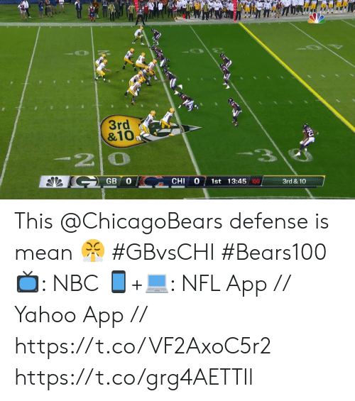 chicagobears: 3rd  &10  -20  GB  1st 13:45 :00  CHI  3rd & 10 This @ChicagoBears defense is mean 😤 #GBvsCHI #Bears100  📺: NBC  📱+💻: NFL App // Yahoo App // https://t.co/VF2AxoC5r2 https://t.co/grg4AETTIl