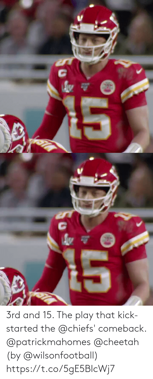 Cheetah: 3rd and 15. The play that kick-started the @chiefs' comeback. @patrickmahomes @cheetah (by @wilsonfootball) https://t.co/5gE5BIcWj7