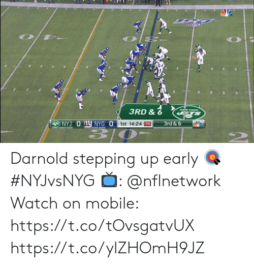 Up Early: 3RD &  NEW YOORK  STS  NYJ O Ny NYG O  1st 14:24 06  3rd & 6 Darnold stepping up early 🎯 #NYJvsNYG  📺: @nflnetwork Watch on mobile: https://t.co/tOvsgatvUX https://t.co/ylZHOmH9JZ