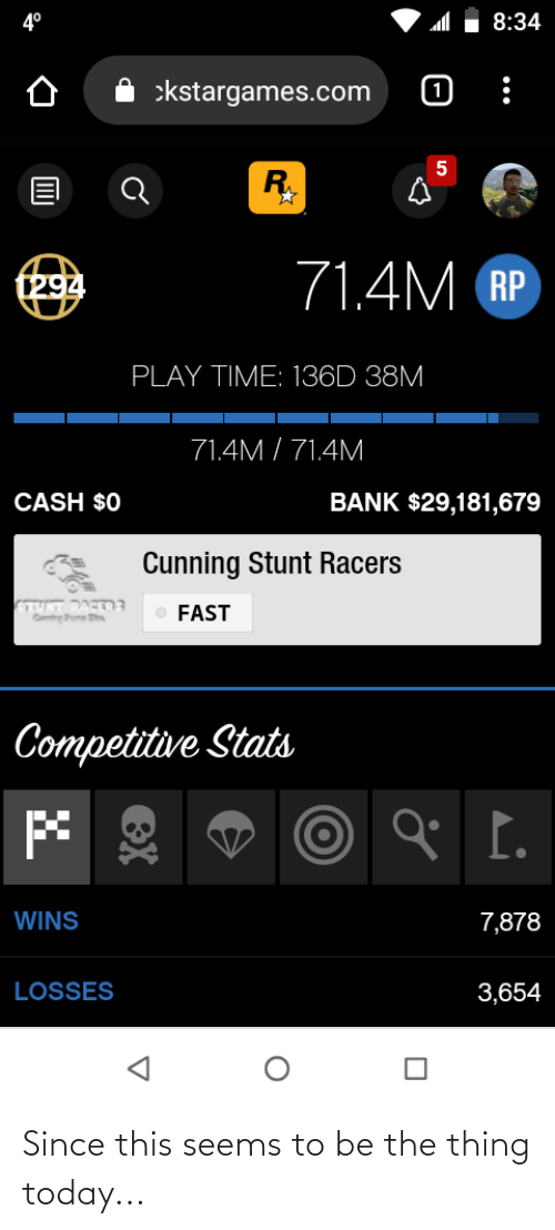 tut: 4°  8:34  :kstargames.com  RY  71.4M RP  t294  PLAY TIME: 136D 38M  71.4M / 71.4M  BANK $29,181,679  CASH $0  Cunning Stunt Racers  TUT RART3  FAST  Competitive Stats  I.  WINS  7,878  LOSSES  3,654  eX Since this seems to be the thing today...