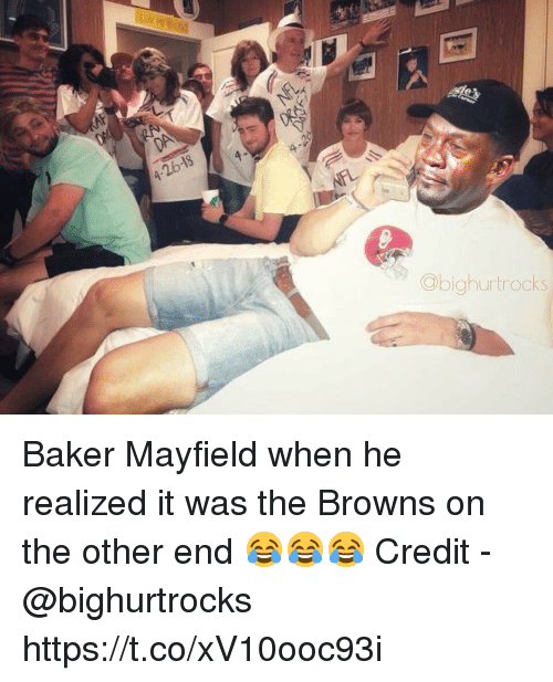 Browns, Baker, and End: 4-26-18  Obighurtrocks Baker Mayfield when he realized it was the Browns on the other end 😂😂😂  Credit - @bighurtrocks https://t.co/xV10ooc93i