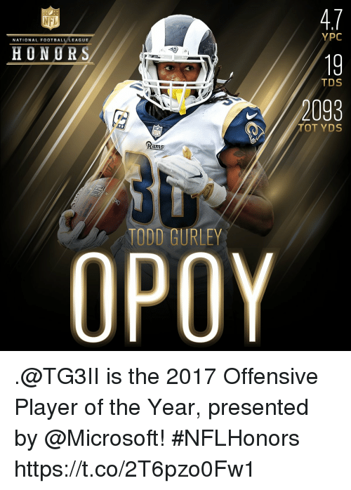 Football, Memes, and Microsoft: 4.7  19  2093  NFL  YPC  NATIONAL FOOTBALL LEAGUE  HONORS  TDS  TOT YDS  Rams  TODD GURLEY .@TG3II is the 2017 Offensive Player of the Year, presented by @Microsoft! #NFLHonors https://t.co/2T6pzo0Fw1