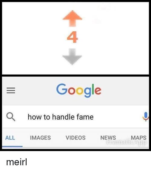 How To Handle Fame: 4  Google  O  how to handle fame  ALL  IMAGES  VIDEOS  NEWS  MAPS meirl