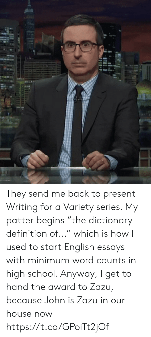 """Dictionary: 4 They send me back to present Writing for a Variety series. My patter begins """"the dictionary definition of..."""" which is how I used to start English essays with minimum word counts in high school.  Anyway, I get to hand the award to Zazu, because John is Zazu in our house now https://t.co/GPoiTt2jOf"""