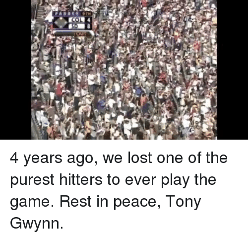 Mlb, The Game, and Lost: 4 years ago, we lost one of the purest hitters to ever play the game. Rest in peace, Tony Gwynn.