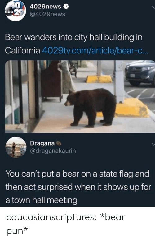 a town: 40 4029news  abc 2 @4029news  Bear wanders into city hall building in  California 4029tv.com/article/bear-c...  Dragana  @draganakaurin  You can't put a bear on a state flag and  then act surprised when it shows up for  a town hall meeting caucasianscriptures: *bear pun*