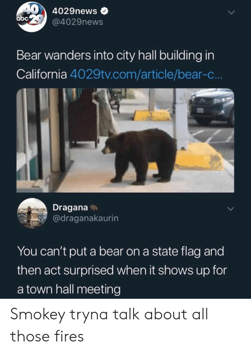 a town: 40 4029news  abc @4029news  Bear wanders into city hall building in  California 4029tv.com/article/bear-c..  Dragana  @draganakaurin  You can't put a bear on a state flag and  then act surprised when it shows up for  a town hall meeting Smokey tryna talk about all those fires
