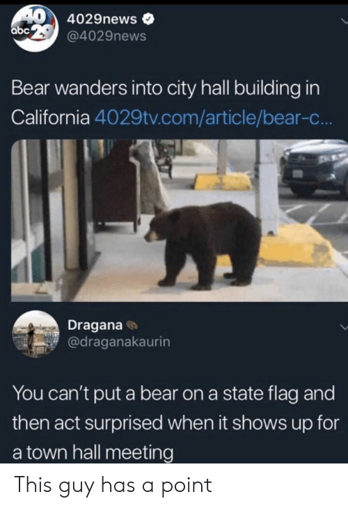a town: 40 4029news  abe29@4029news  Bear wanders into city hall building in  California 4029tv.com/article/bear-c...  Dragana  @draganakaurin  You can't put a bear on a state flag and  then act surprised when it shows up for  a town hall meeting This guy has a point
