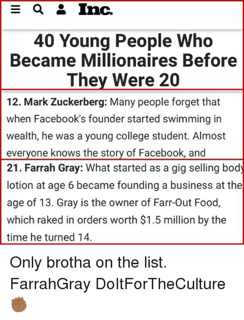 College, Facebook, and Food: 40 Young People Who  Became Millionaires Before  They Were 20  12. Mark Zuckerberg: Many people forget that  when Facebook's founder started swimming in  wealth, he was a young college student. Almost  everyone knows the story of Facebook, and  21. Farrah Gray: What started as a gig selling body  lotion at age 6 became founding a business at the  age of 13. Gray is the owner of Farr-Out Food,  which raked in orders worth $1.5 million by the  time he turned 14 Only brotha on the list. FarrahGray DoItForTheCulture ✊🏾