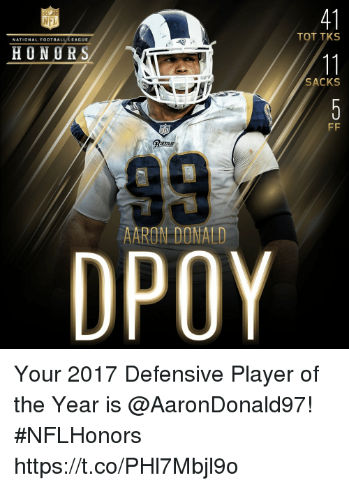 Memes, Rams, and 🤖: 41  TOT TKS  NATIONAL FOOTBALLLEAGUE  HONORS  SACKS  Rams  AARON DONALD  DPOY Your 2017 Defensive Player of the Year is @AaronDonald97! #NFLHonors https://t.co/PHl7Mbjl9o