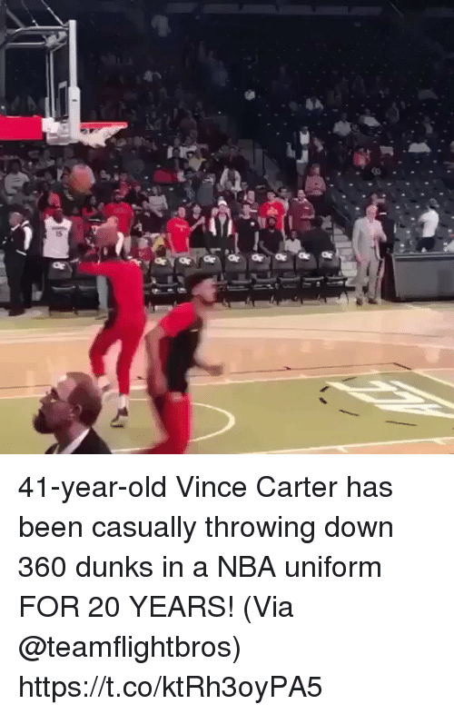 Memes, Nba, and Old: 41-year-old Vince Carter has been casually throwing down 360 dunks in a NBA uniform FOR 20 YEARS!   (Via @teamflightbros)   https://t.co/ktRh3oyPA5