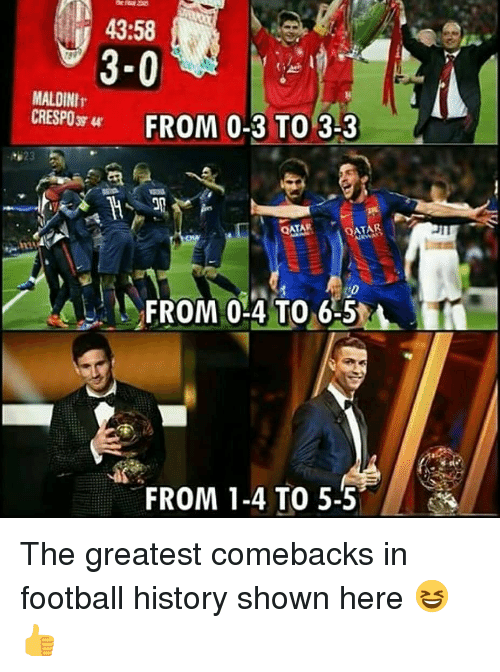 atar: 43:58  3-0  MALDINIr  CRESP0 FROM 0-3 TO 3-3  623  ATAR  FROM 0-4 T06-5  FROM 1-4 TO 5-5 The greatest comebacks in football history shown here 😆👍